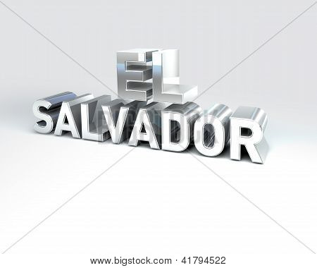 3D Country Text Of El Salvador