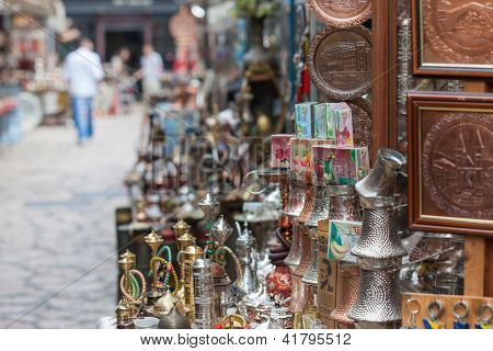 SARAJEVO, BOSNIA - AUGUST 13: Shops selling traditional souvenirs on August 13, 2012 in Sarajevo, Bosnia. Bascarsija, the old town, is a popular place for tourists to buy local craftwork.