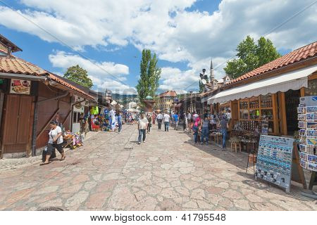SARAJEVO, BOSNIA - AUGUST 11: Pedestrian market area of Bascarsija, on August 11, 2012 in Sarajevo, Bosnia. Bascarsija, the old town, is a popular place for tourists to buy local craftwork.