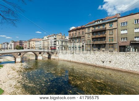 SARAJEVO, BOSNIA - AUGUST 11: Latin bridge on Miljacka river in Sarajevo on August 11, 2012 in Sarajevo, Bosnia. This is where Archduke Franz Ferdinand of Austria was assassinated in 1914.