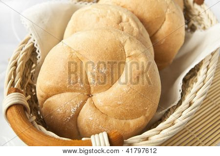 White Breadrolls Fresh And Ready For Breakfast