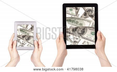 Lot Of Money On A Tablet Pc Screen Set