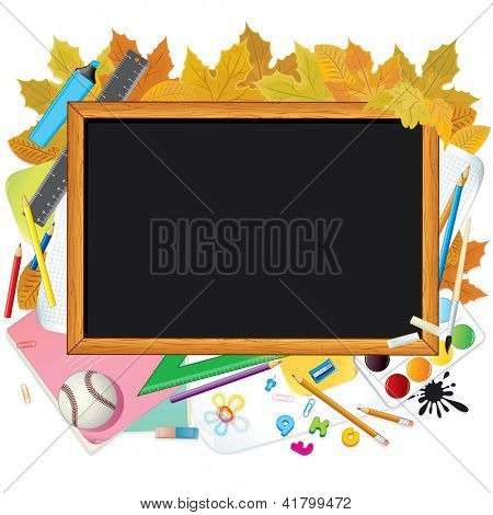 Back to School Illustration. Chalkboard over School Equipments. Vector Image with Free Space for Text