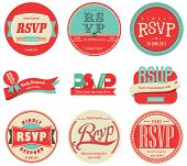 Vector set Vintage RSVP-Label