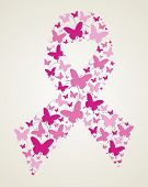foto of causes cancer  - Pink butterflies in breast cancer awareness ribbon symbol - JPG