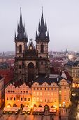 Stare Mesto Square In Prague With Church of Our Lady of Tyn