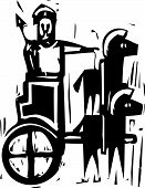image of charioteer  - Woodcut expressionist style image a Greek warrior in a chariot drawn by two horses - JPG