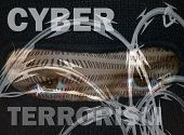 stock photo of extremist  - Portrayal of CyberTerrorism with terrorism in mask binary data barbed wire - JPG