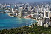 stock photo of waikiki  - View of Waikiki from Diamond Head  - JPG