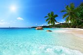 image of indian blue  - Anse Lazio beach at Praslin island - JPG