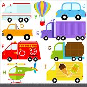 A set of cute vector A-Z alphabets : Car / Vehicles / Transportation