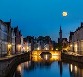 picture of nightfall  - European medieval night city view background  - JPG