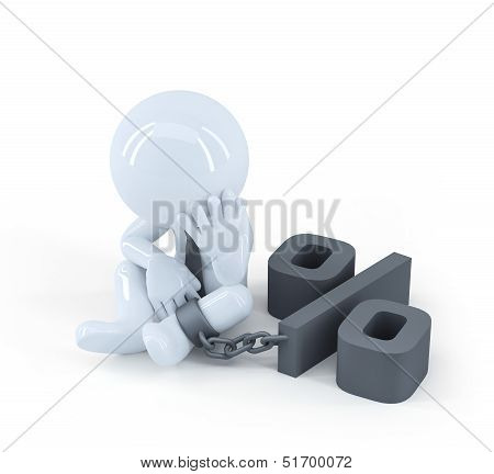 Chained Businessman. Debt Concept.