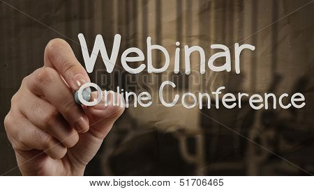 Hand Writing Webinar With Crumpled Paper Background As Concept