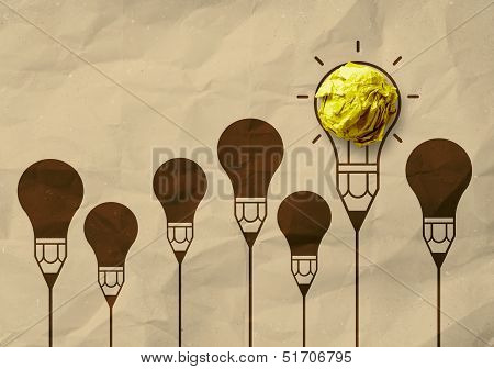 Light Bulb Crumpled Recycle Paper In Pencil Light Bulb As Creative Concept