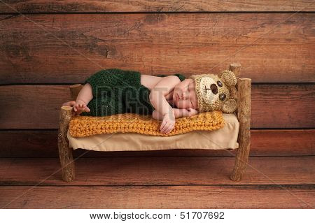 Newborn Baby Boy In A Teddy Bear Costume