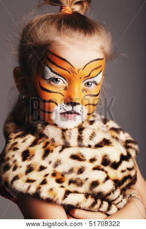 little girl with tiger costume