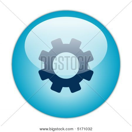 Glassy BLue Gear Icon