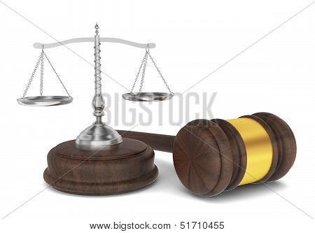 Judge Hammer With Scales, Law Concept