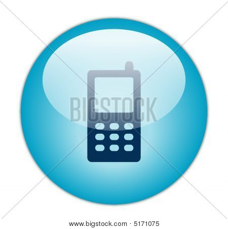 Glassy Blue Mobile Phone Icon