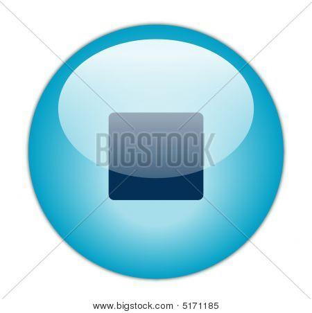 Glassy Blue Stop Icon Button