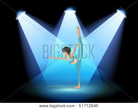 Illustration of a woman dancing under the spotlights