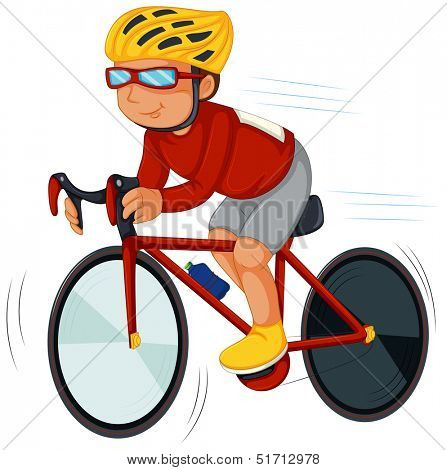 Illustration of a speedy biker on a white background