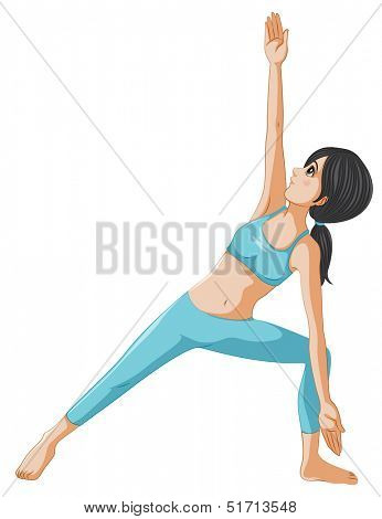 Illustration of a woman performing yoga on a white background