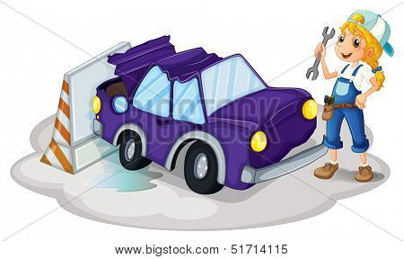 Illustration of a woman fixing the violet car on a white background