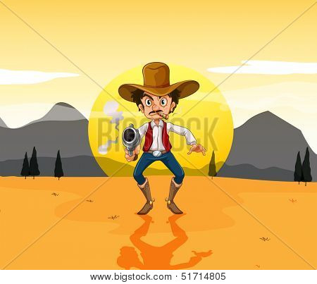 Illustration of a cowboy holding a gun in the middle of the desert