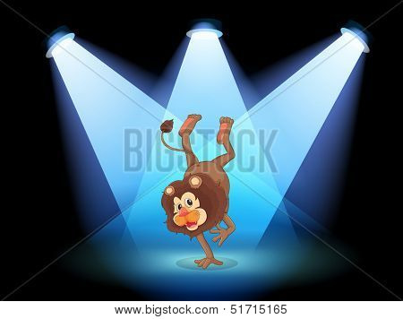 Illustration of a dancing lion in the middle of the stage