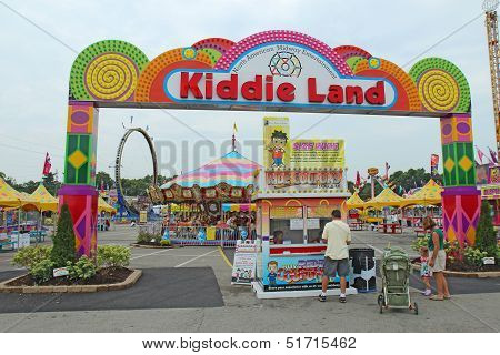 Entrance To Kiddie Land And Rides At The Indiana State Fair In Indianapolis