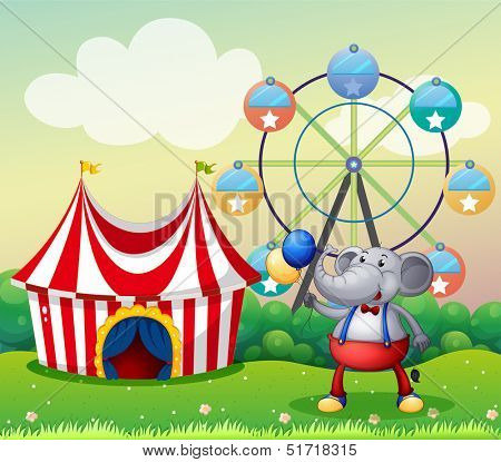 Illustration of an elephant at the carnival