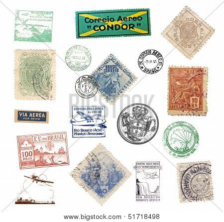 Postage Vintage Stamps And Labels From Brazil