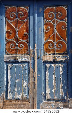 Wooden Door Vintage Metal Frame