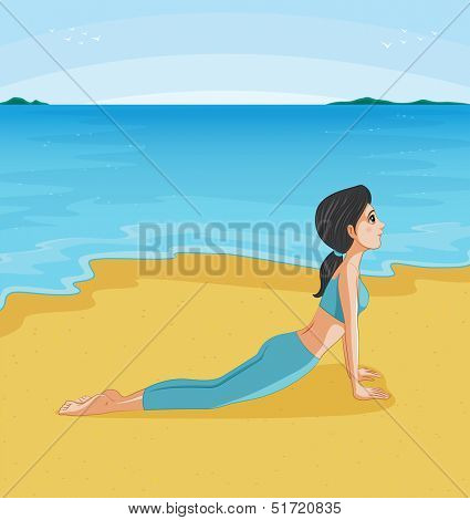 Illustration of a girl doing yoga at the beach