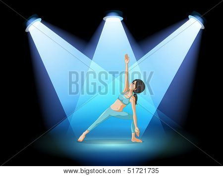 Illustration of a stage with a girl performing yoga at the center