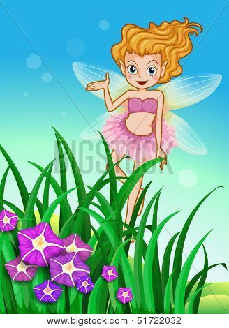 Illustration of a flower pixie at the garden