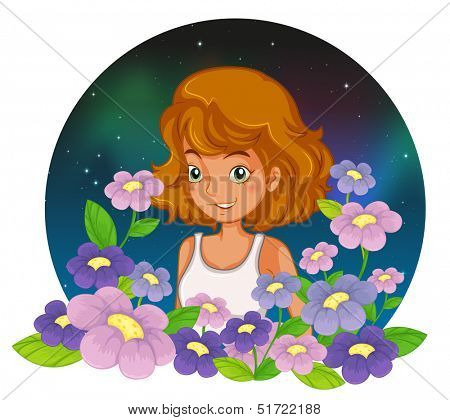 Illustration of a young lady at the garden on a white background