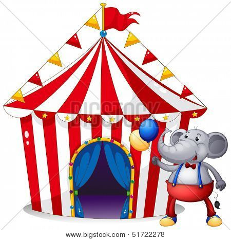 Illustration of an elephant in front of the tent at the carnival on a white background