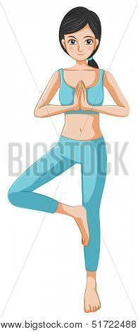 Illustration of a beautiful girl doing yoga on a white background