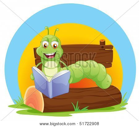 Illustration of a worm reading a book on a white background
