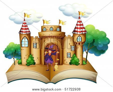 Illustration of a storybook with a castle and a witch on a white background