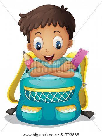 Illustration of a boy inside a schoolbag on a white background