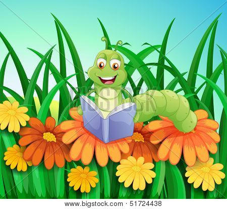 Illustration of a worm reading a book at the garden