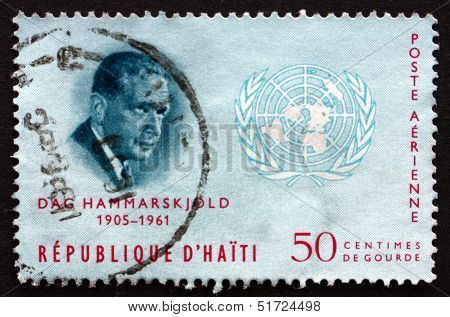 Postage Stamp Haiti 1963 Dag Hammarskjold And Un Emblem