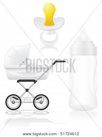 Set Icons Perambulator Bottle And Pacifier Vector Illustration