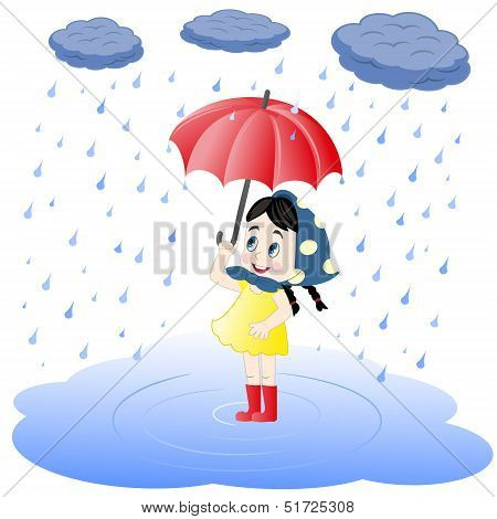 Girl under an umbrella and rain