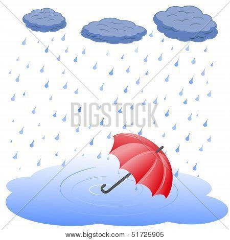 Umbrella in puddle in rain