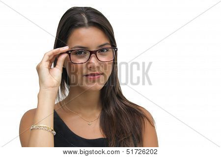Young Brunette Woman with glasses